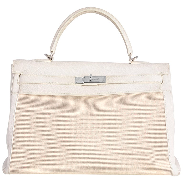 Hermes Kelly 35 Toile and Leather Bag