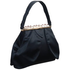 C.1950 Evans Enameled Black Satin Evening Handbag