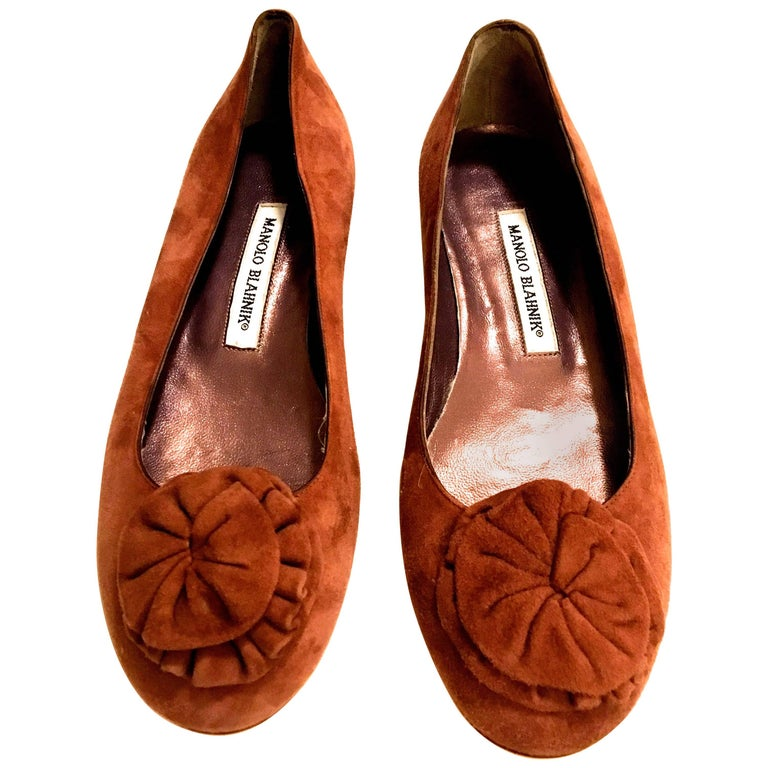 Manolo Blahnik New Flat Shoes Suede with Flower Size 38