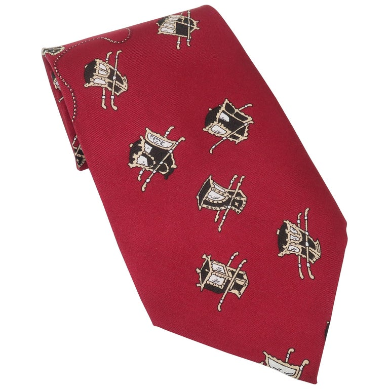 1960's Emilio Pucci Men's Silk Necktie With Royal Carriage Motif For Sale