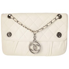 Chanel White Quilted Shoulder Bag with Medallion Chain