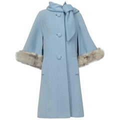 Powdery Lilli Ann Paris Fox Trim Ulster Swing Coat, 1950s