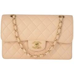 Chanel Beige Caviar Shoulder Flap Bag