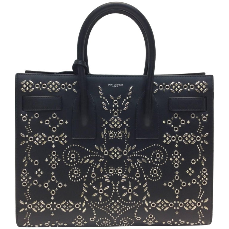 Yves Saint Laurent Bandana Studded Sac De Jour Leather Bag 1