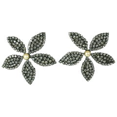 Butler Wilson Pave Flower Earclips