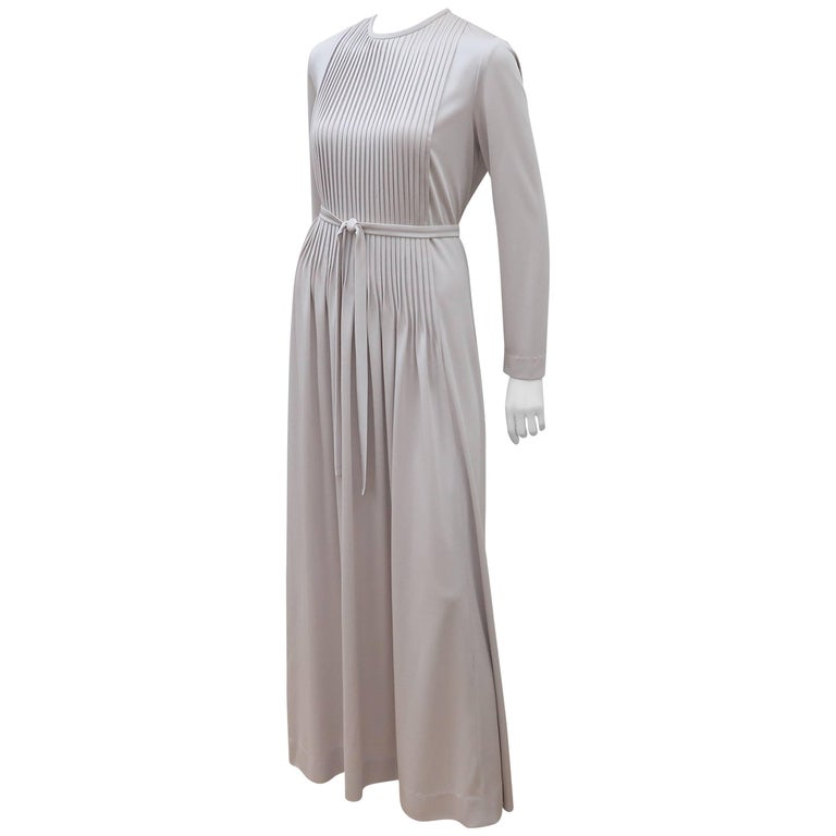 1970\'s Saks Fifth Avenue Platinum Gray Jersey Evening Dress For Sale ...