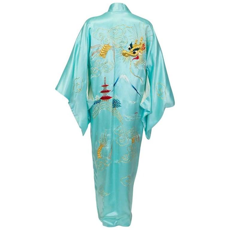 Korean War Dragon Kimono with Padded Goldwork Embroidery, 1950s