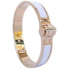 HERMES Charniere Uni Hinged Plain White Enamel Bracelet GHW Narrow Size M