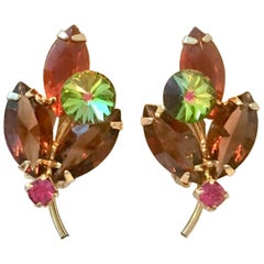 "1960'S Delizza & Elster ""Juliana"" Crystal Rhinestone Flower Earrings"