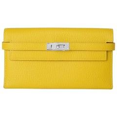 Hermes Kelly Cumin Yellow Wallet