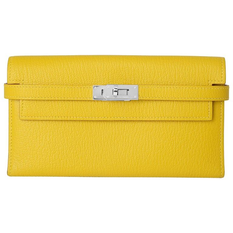 Hermes Kelly Cumin Yellow Wallet For Sale