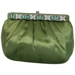 Judith Leiber Silk, Jadeite and Crystal Convertible Evening Clutch, 1980s