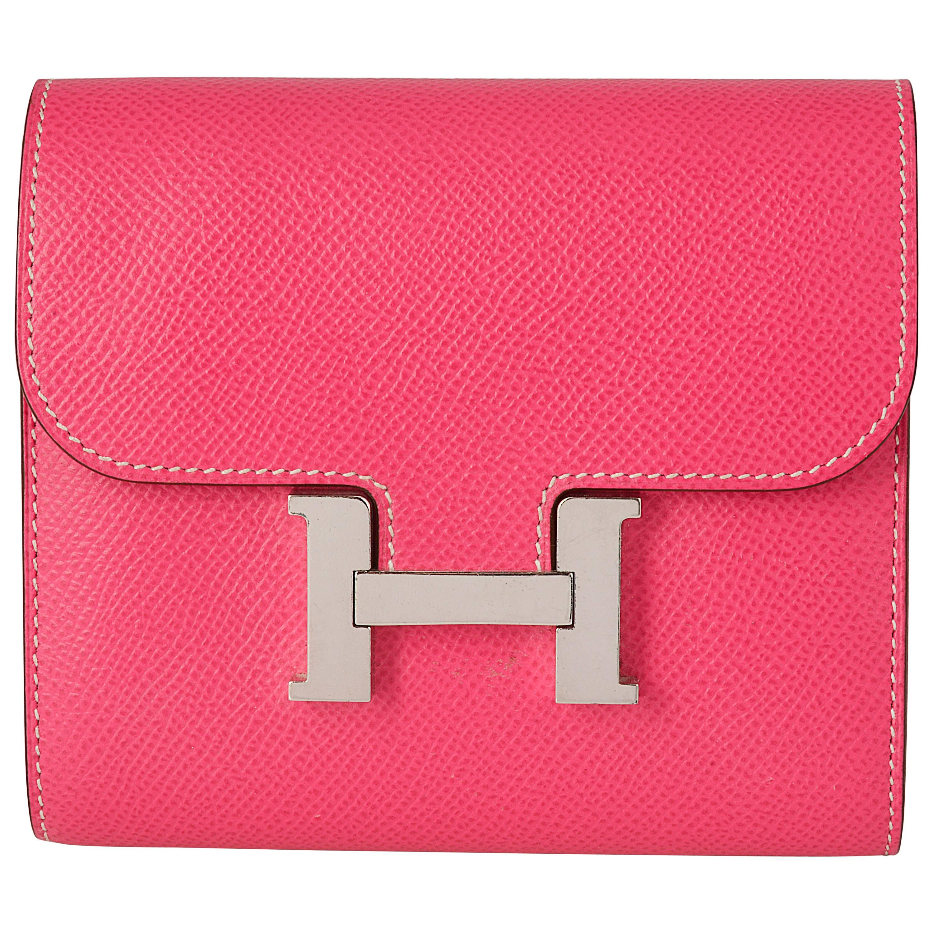 e8d554dc4f66 Hermes Rose Tyrien Bright Pink Chevre Mysore Leather Kelly Longue Wallet  For Sale at 1stdibs