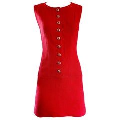 Karl Lagerfeld Chic Vintage  1990s Does 1960s Lipstick Red Wool Mini Shift Dress