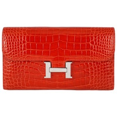 Hermès ​Geranium Red Alligator Constance 20cm Wallet