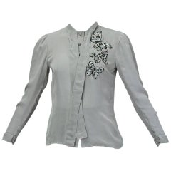 Jean-Louis Scherrer Numbered Couture Butterfly Pussy Bow Blouse, 1970s