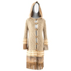 Christian Dior hooded oatmeal knitted jacket with rabbit fur and suede tassels