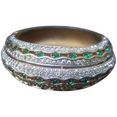 Jomaz Exquisite Crystal Encrusted Gilt Metal Hinged Bangle c 1970