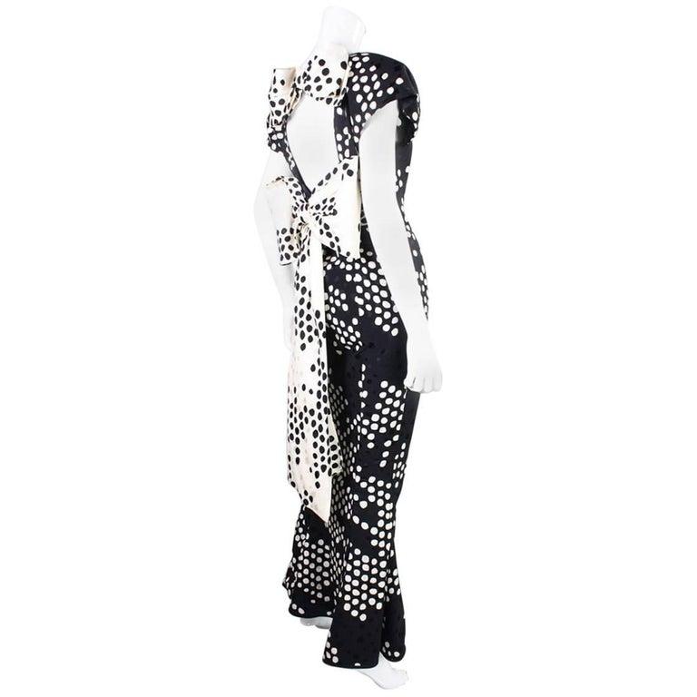 1980's Andrea Odicini Polka-Dotted Silk Gown