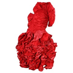 1980's Christian Dior Red Taffeta Ruffled Dress