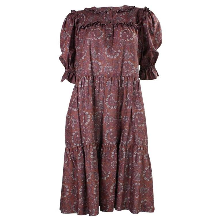 1980's Yves Saint Laurent Cotton Paisley Peasant Dress
