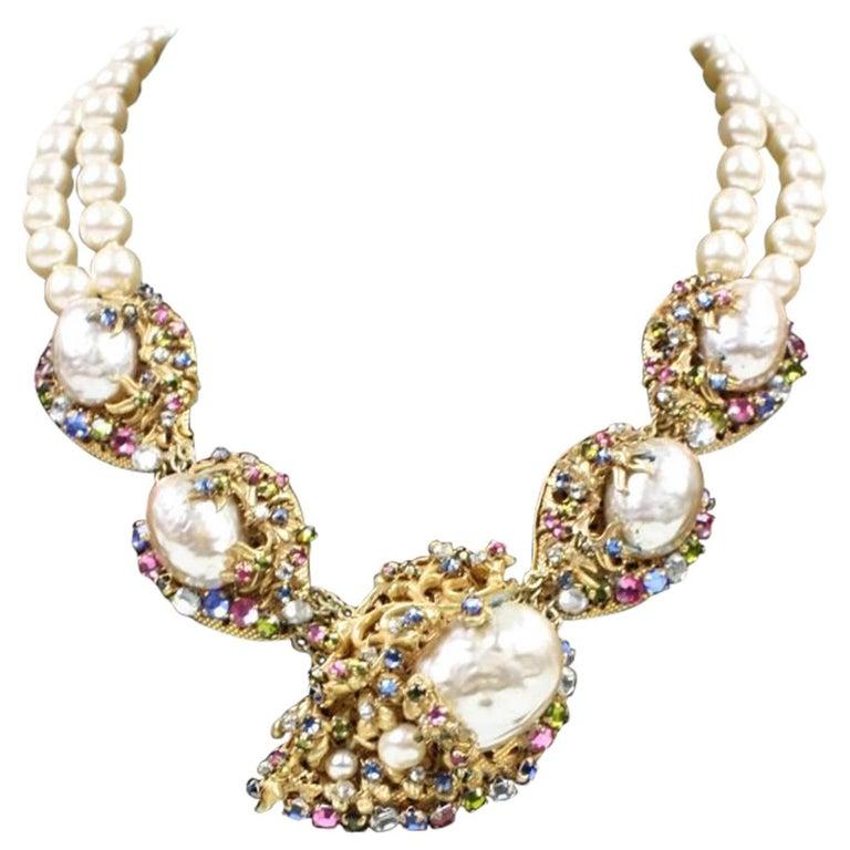 Miriam Haskell Baroque Pearl & Rhinestone Necklace 1
