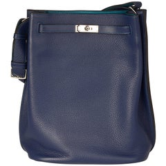 Hermes Blue Izmir Clemence Leather 26cm So Kelly Bag
