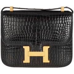 Hermes Black Crocodile Constance Bag