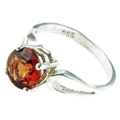Spessartite Garnet in Sterling Silver Ring