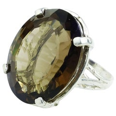 Smoky Quartz and Sterling Silver Cocktail Ring