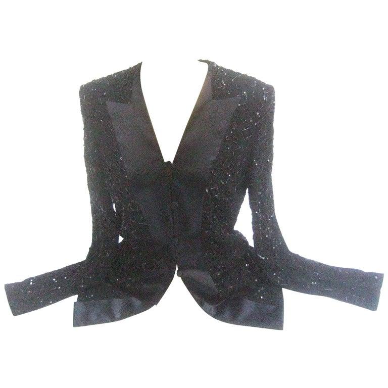 Mirella Cavorso Italian Black Silk Beaded Tuxedo Style Evening Jacket  For Sale 4