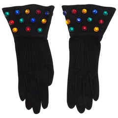 Yves Saint Laurent Rhinestone Embellished Suede Gloves