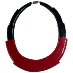 1930s Art Deco French Red Black Galalith Necklace by August Bonaz