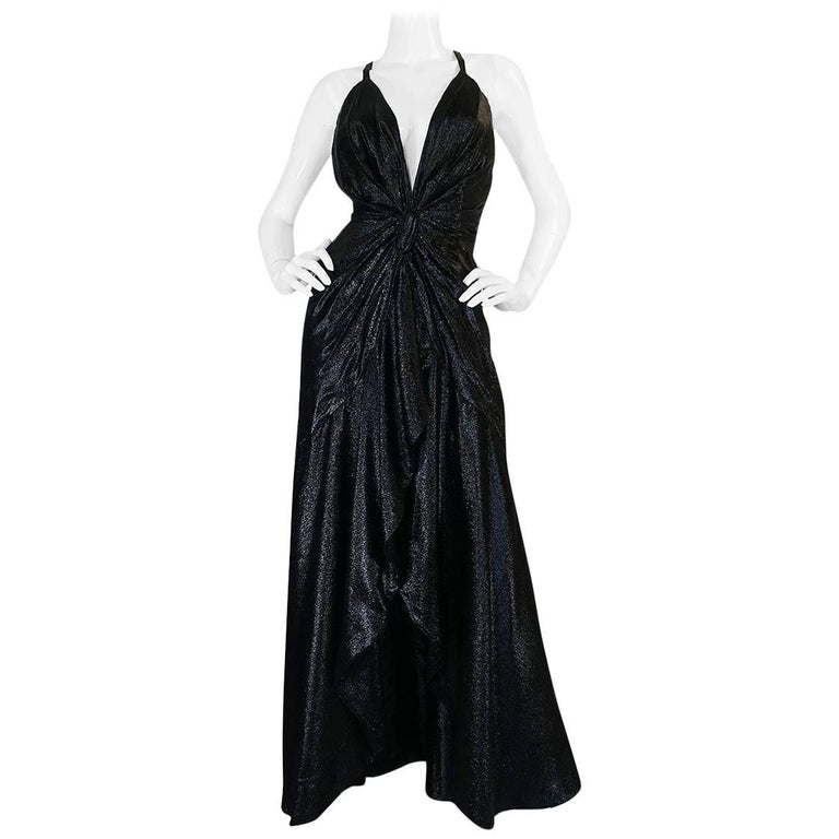 1970s John Anthony Black Metallic Lurex Front & Back Plunge Dress
