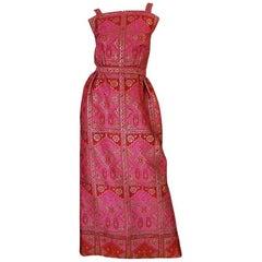 Unusual 1960s Backless Pink & Gold Metallic Brocade Dress