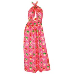 1970s Oscar de la Renta Bright Pink Front Cut Out Halter Dress