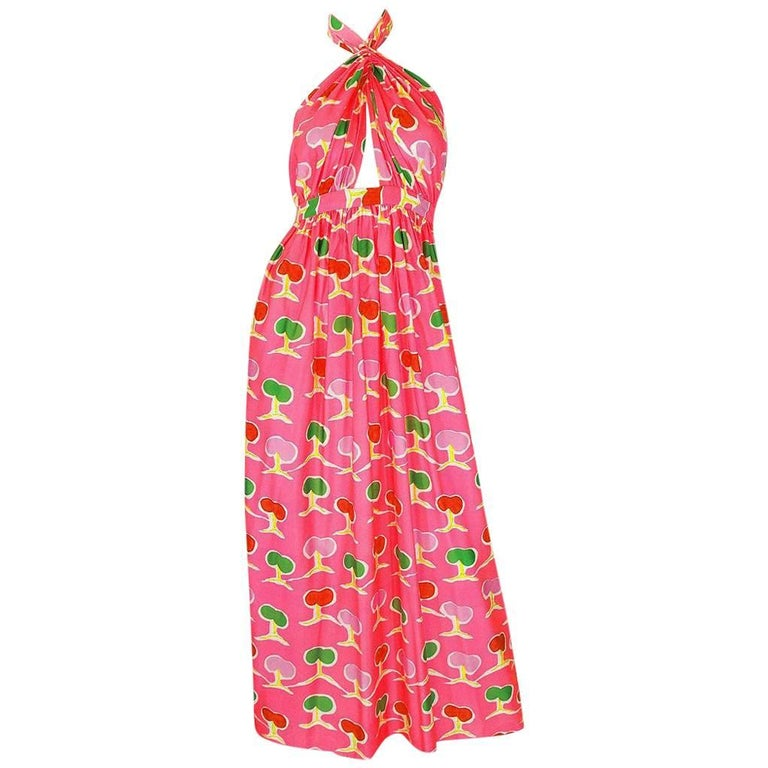 1970s Oscar de la Renta Bright Pink Front Cut Out Halter Dress For Sale