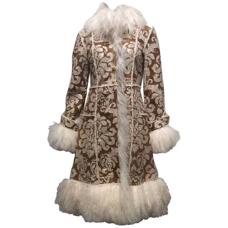 Chanel Shearling With Muted Gold Brocade Print And Curly Lamb Trim Sz 36 (US 4) 1