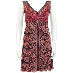 1990s Christian Lacroix Pink and Black Lace Cocktail dress
