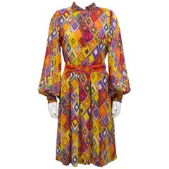 1970s Pauline Trigere Multi-Color Shirt Dress