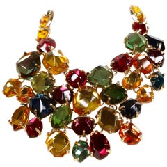 YVES SAINT LAURENT poured glass bib necklace