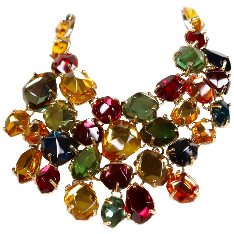 YVES SAINT LAURENT poured glass bib necklace   For Sale