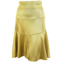 1980's AZZEDINE ALAIA yellow seamed skirt with high waist
