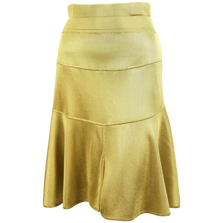1980's AZZEDINE ALAIA yellow seamed skirt with high waist