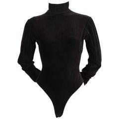 1990's AZZEDINE ALAIA black velvet bodysuit