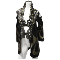 Avant Garde Reconstructed Art Deco Opera Coat with Patent Leather High Collar