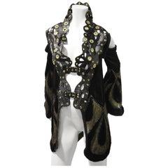 Avantgarde Rekonstruiert Art Deco Oper Mantel mit Stehkragen aus Lackleder