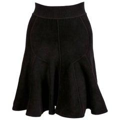 1990's AZZEDINE ALAIA black velour seamed miniskirt
