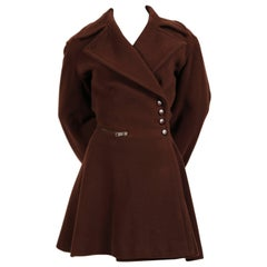 1980's AZZEDINE ALAIA brown wool coat with lace up back