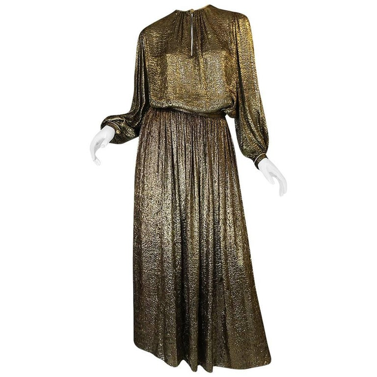 Yves Saint Laurent Documented Gold Metallic Lame Set, 1976-1977  1